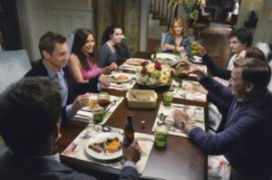 "SWITCHED AT BIRTH - ""We Are The Kraken Of Our Own Sinking Ships"" - Kathryn and John are concerned about Bay's friendship with Zarra so they invite Bay's ex-boyfriend Alex and his parents over for dinner. But during the meal, Zarra calls and begs Bay to come rescue her from a sticky situation, on an all new episode of ""Switched at Birth"" on ABC Family, airing Monday, October 8th at 8:00PM ET/PT. (Photo by Eric McCandless/ABC Family via Getty Images) CHRISTOPHER WIEHL, CONSTANCE MARIE, VANESSA MARANO, LEA THOMPSON, MAT VAIRO, SPENCER GARRETT"